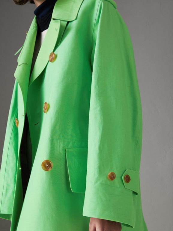 Bonded Cotton Double-breasted Coat in Bright Pigment Green - Women | Burberry Australia - cell image 1