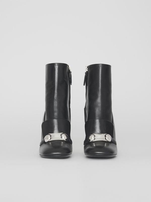 Studded Bar Detail Leather Ankle Boots in Black - Women | Burberry Singapore - cell image 3