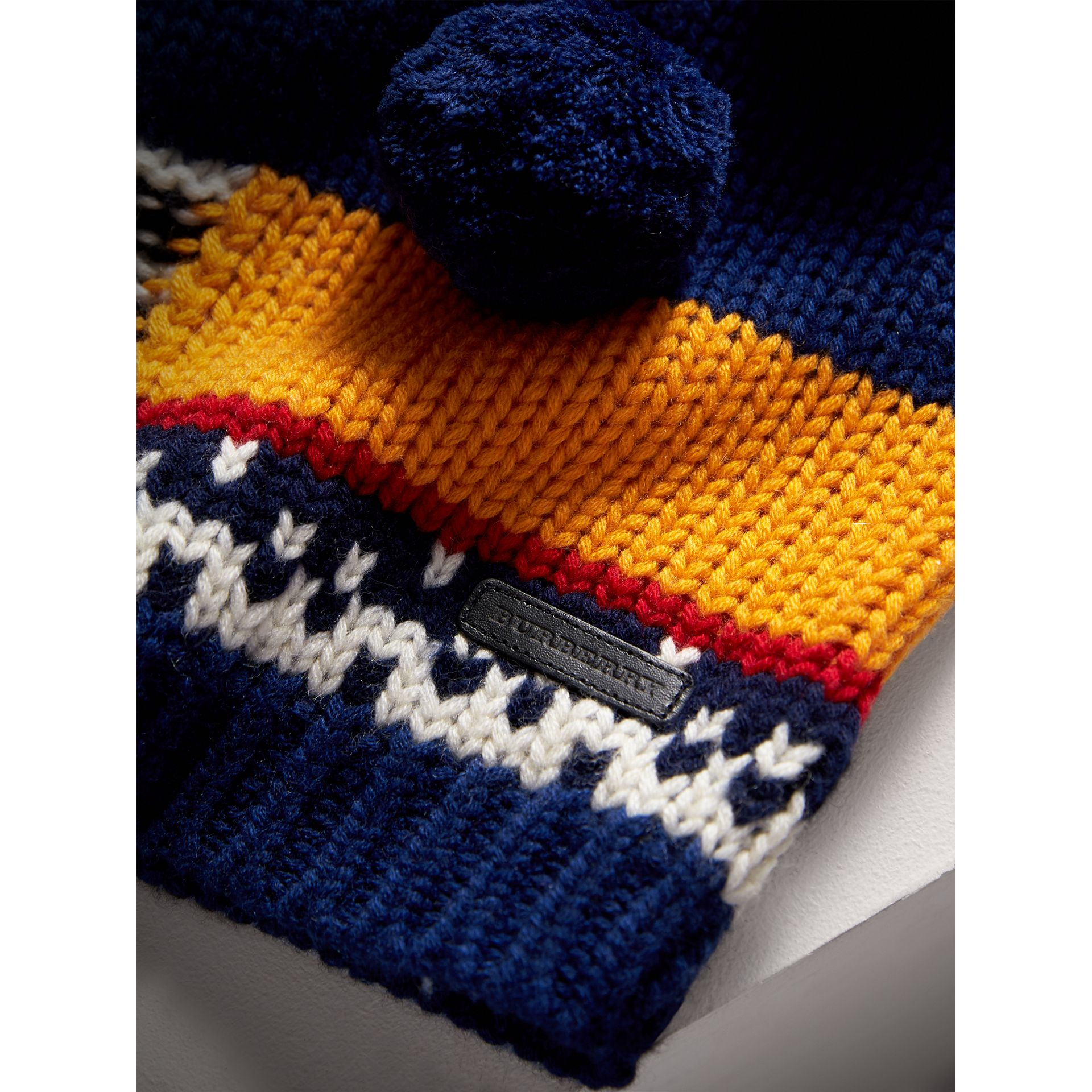 Pom-pom Fair Isle Wool Cashmere Sweater in Navy/red | Burberry - gallery image 1