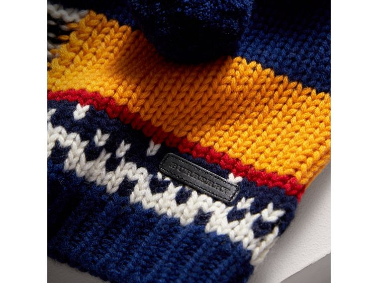 Pom-pom Fair Isle Wool Cashmere Sweater in Navy/red | Burberry - cell image 1