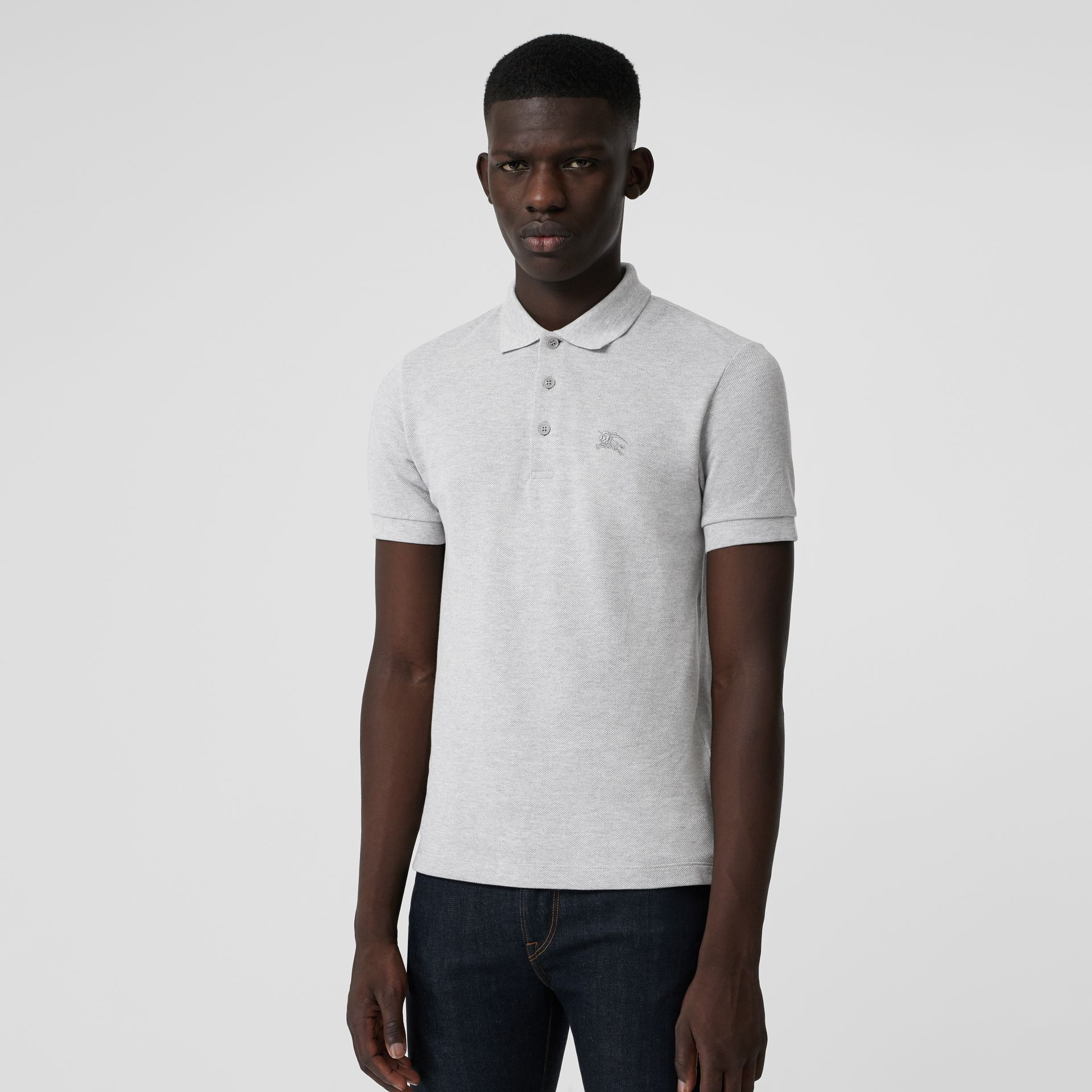 Check Placket Cotton Polo Shirt in Pale Grey Melange - Men | Burberry - gallery image 1