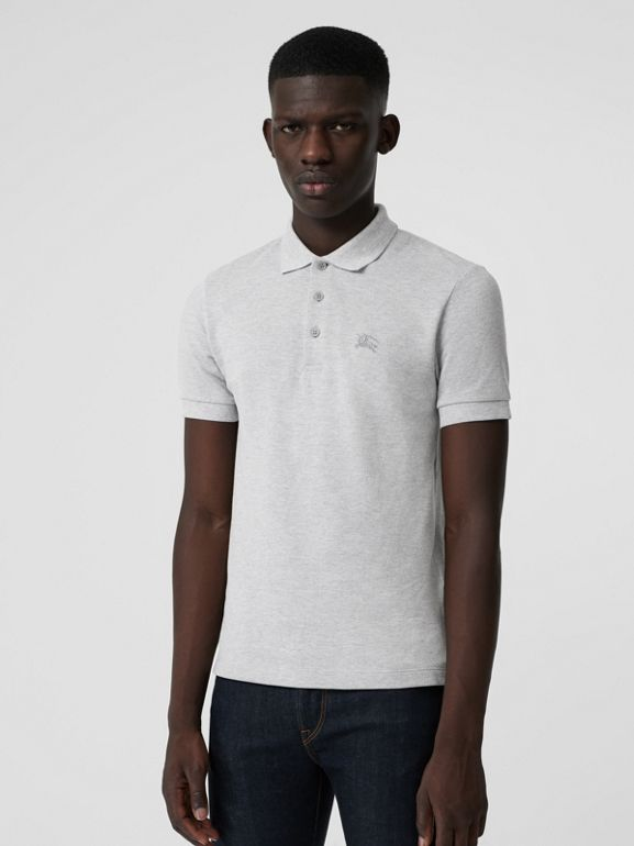 Check Placket Cotton Polo Shirt in Pale Grey Melange - Men | Burberry United Kingdom - cell image 1