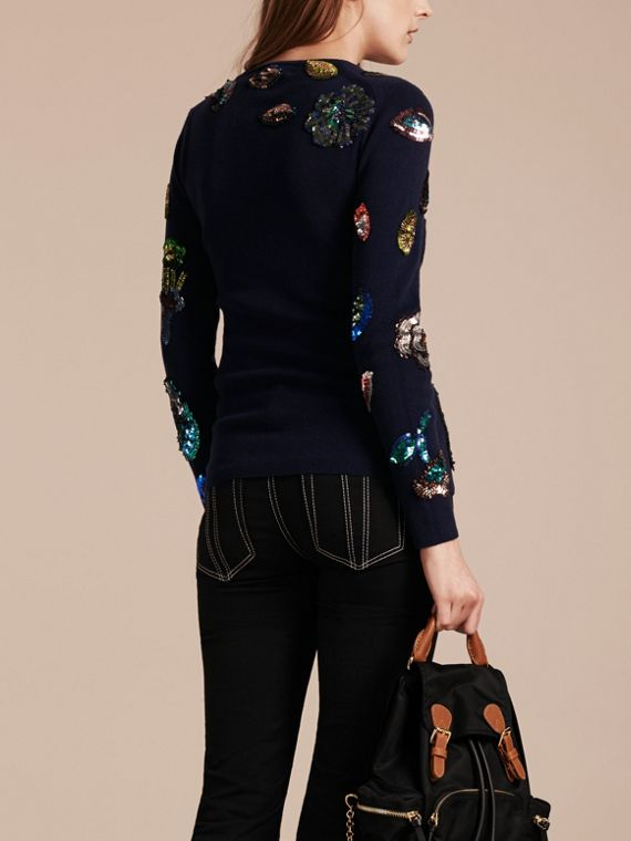 Navy Cashmere Sweater with Hand-embroidered Sequin Flowers - cell image 2