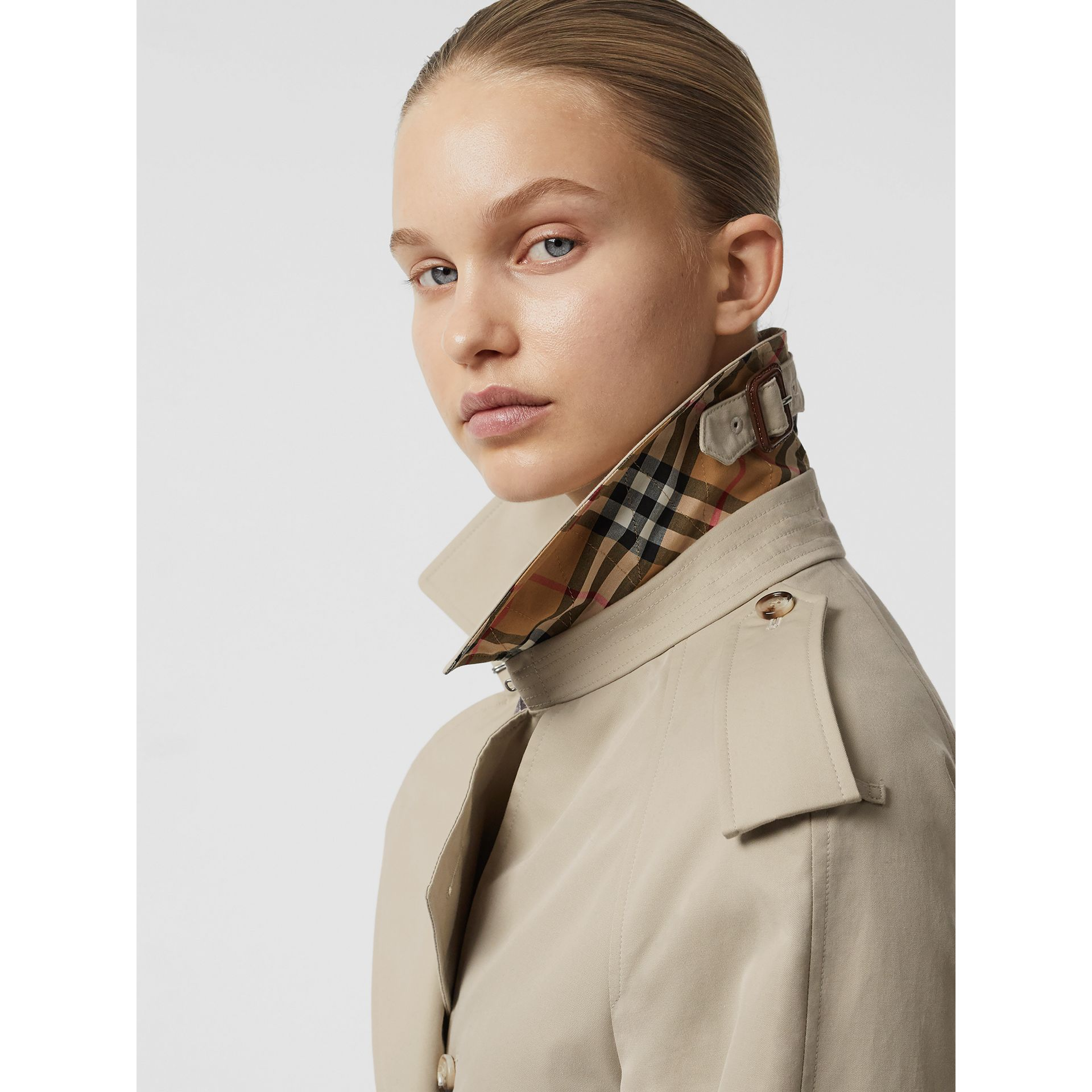 Grommet Detail Cotton Gabardine Trench Coat in Stone - Women | Burberry - gallery image 4