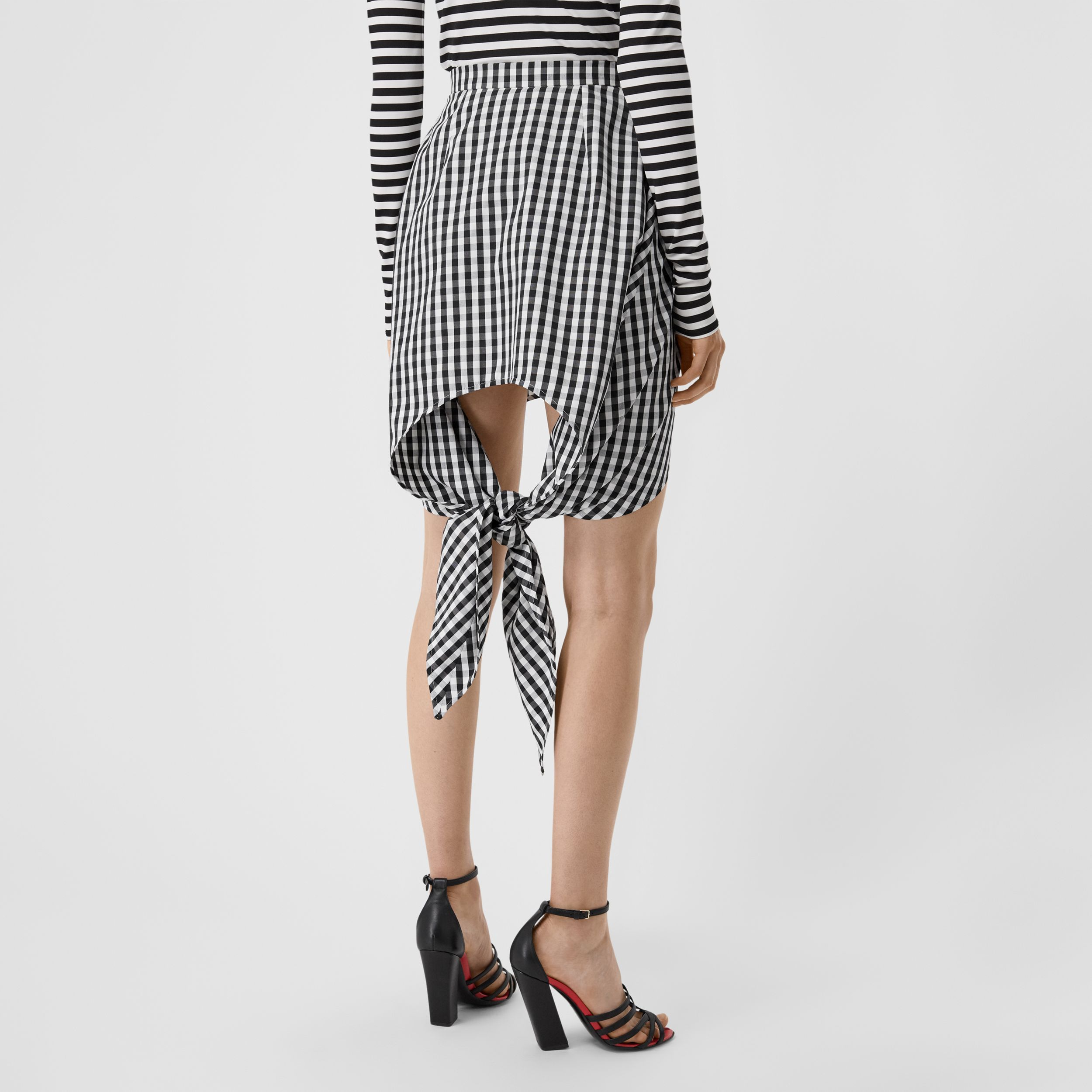 Scarf-tie Detail Gingham Technical Wool Mini Skirt in Black - Women | Burberry - 3