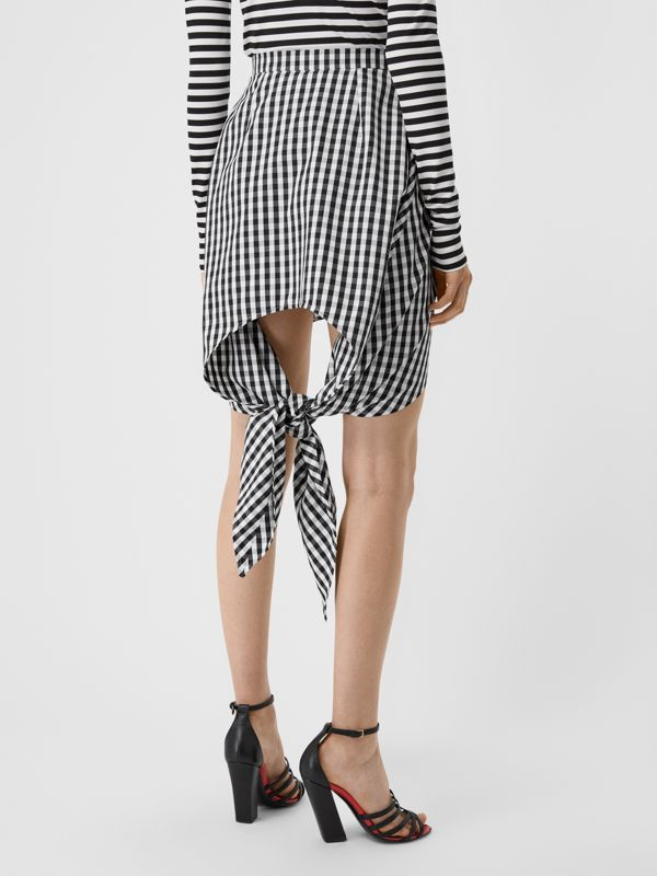 Scarf-tie Detail Gingham Technical Wool Mini Skirt in Black - Women | Burberry - cell image 2