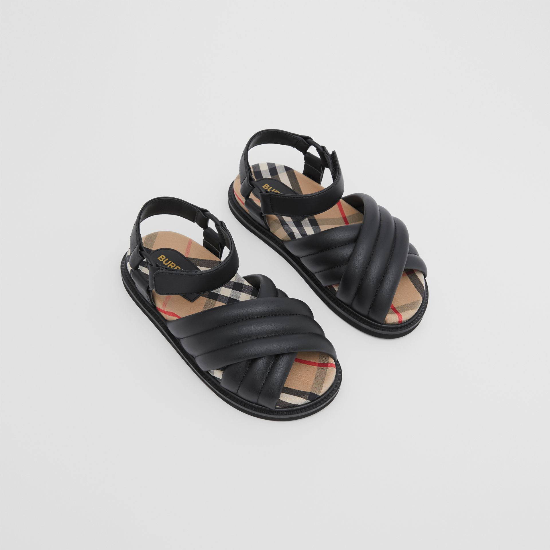 Vintage Check-lined Quilted Sandals in Black - Children | Burberry - gallery image 0