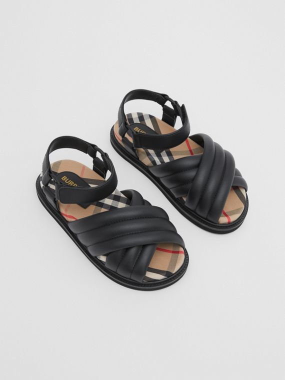 Vintage Check-lined Quilted Sandals in Black