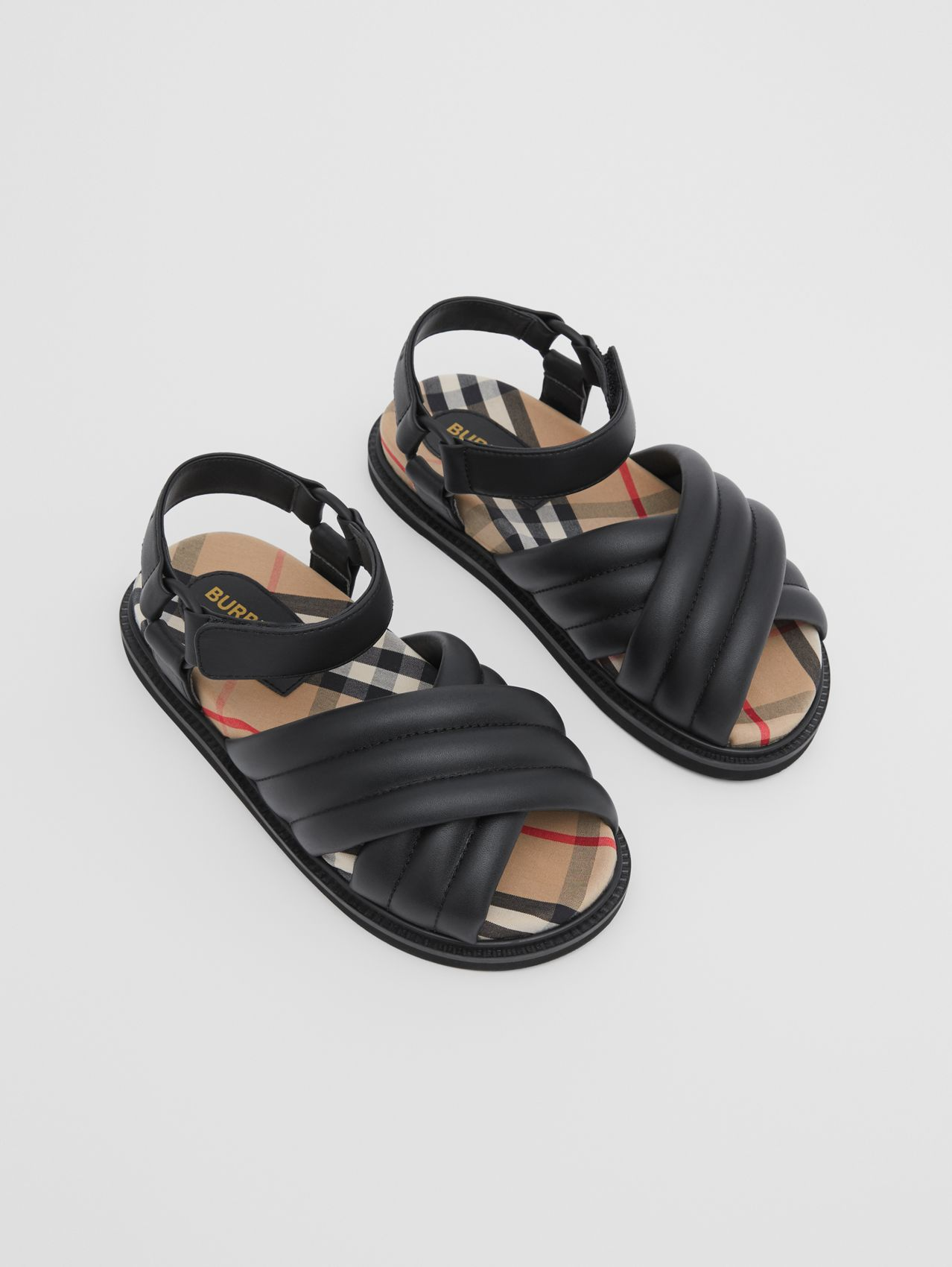 Vintage Check-lined Quilted Sandals (Black)