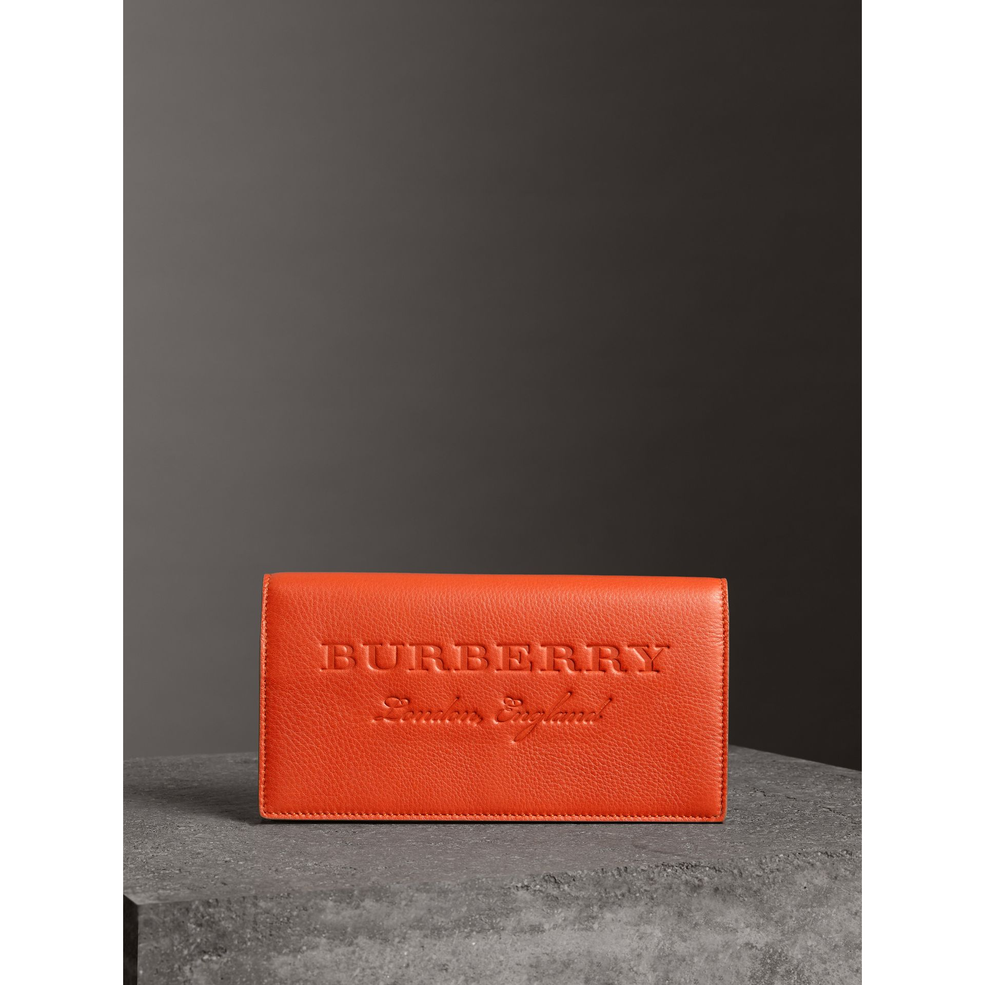 Embossed Leather Continental Wallet in Dark Clementine | Burberry United Kingdom - gallery image 4
