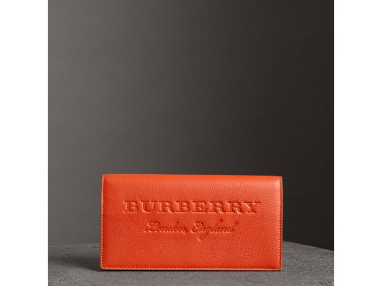 Embossed Leather Continental Wallet in Dark Clementine | Burberry - cell image 4