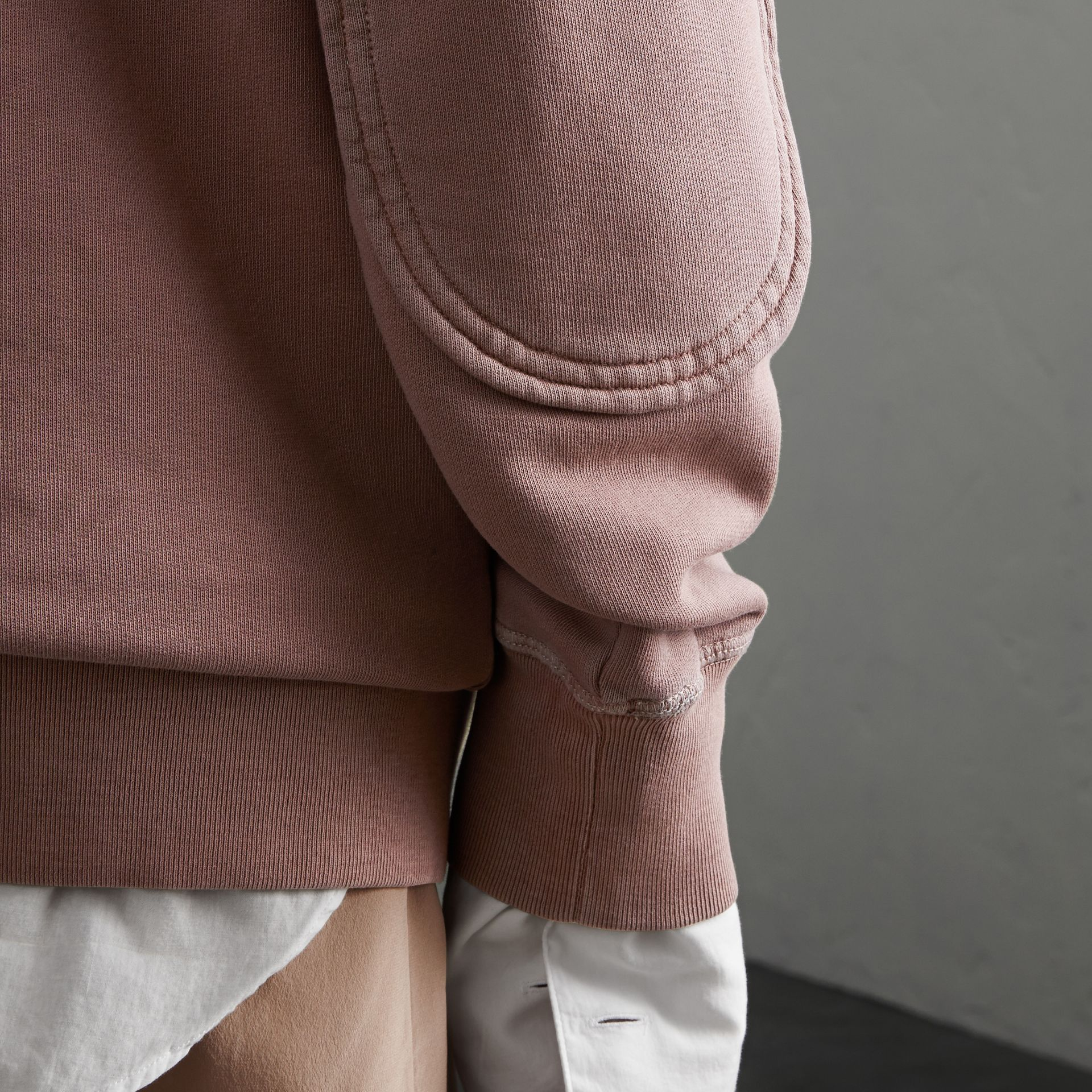 Unisex Pigment-dyed Cotton Oversize Sweatshirt in Dusty Mauve - Women | Burberry - gallery image 4