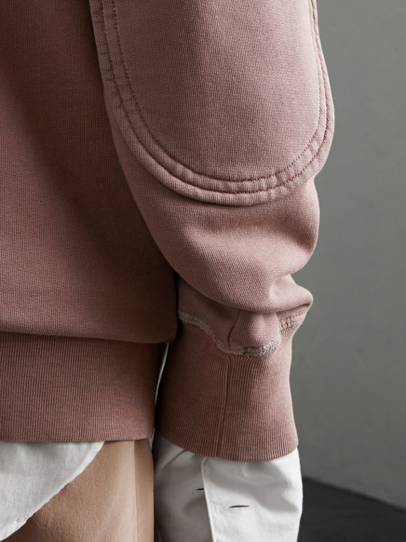 Unisex Pigment-dyed Cotton Oversize Sweatshirt in Dusty Mauve - Women | Burberry - cell image 3