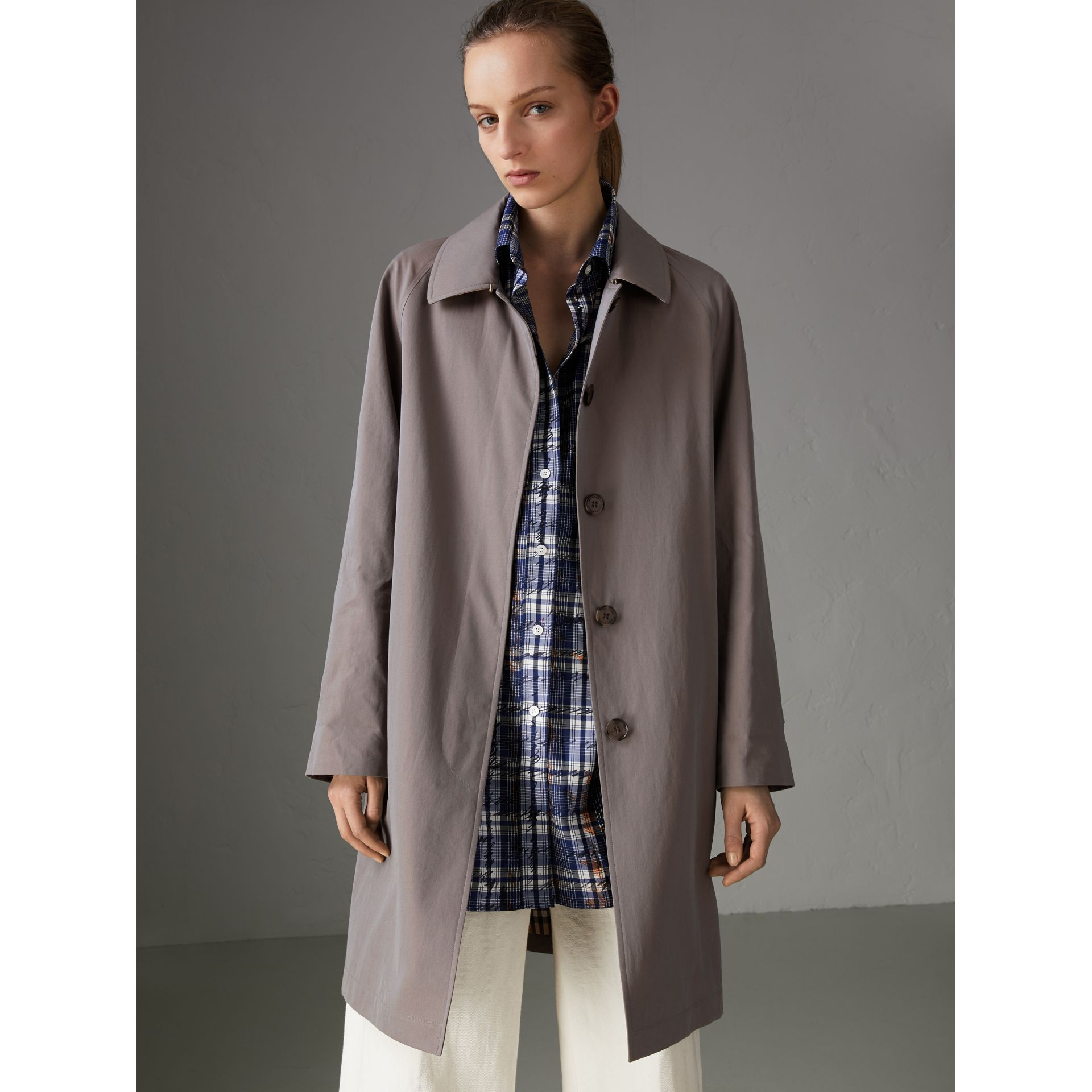 The Camden Car Coat in Lilac Grey - Women | Burberry United Kingdom - gallery image 5