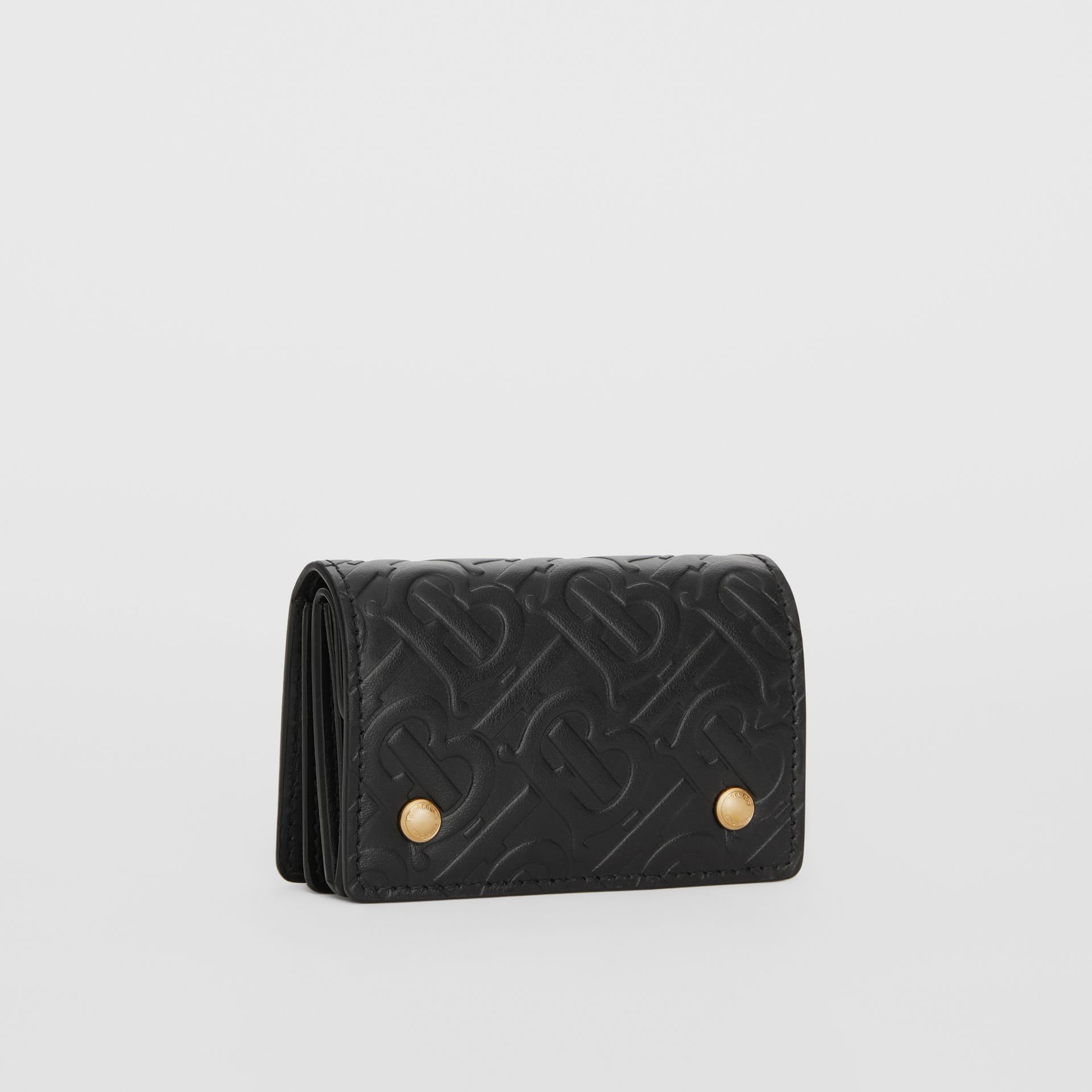 Monogram Leather Card Case in Black - Women | Burberry Singapore - gallery image 3
