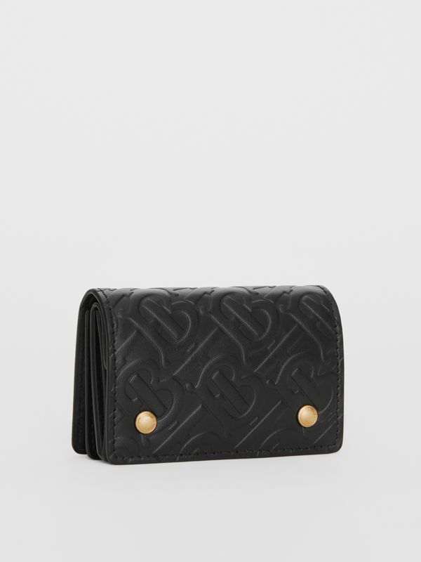 Monogram Leather Card Case in Black - Women | Burberry Singapore - cell image 3