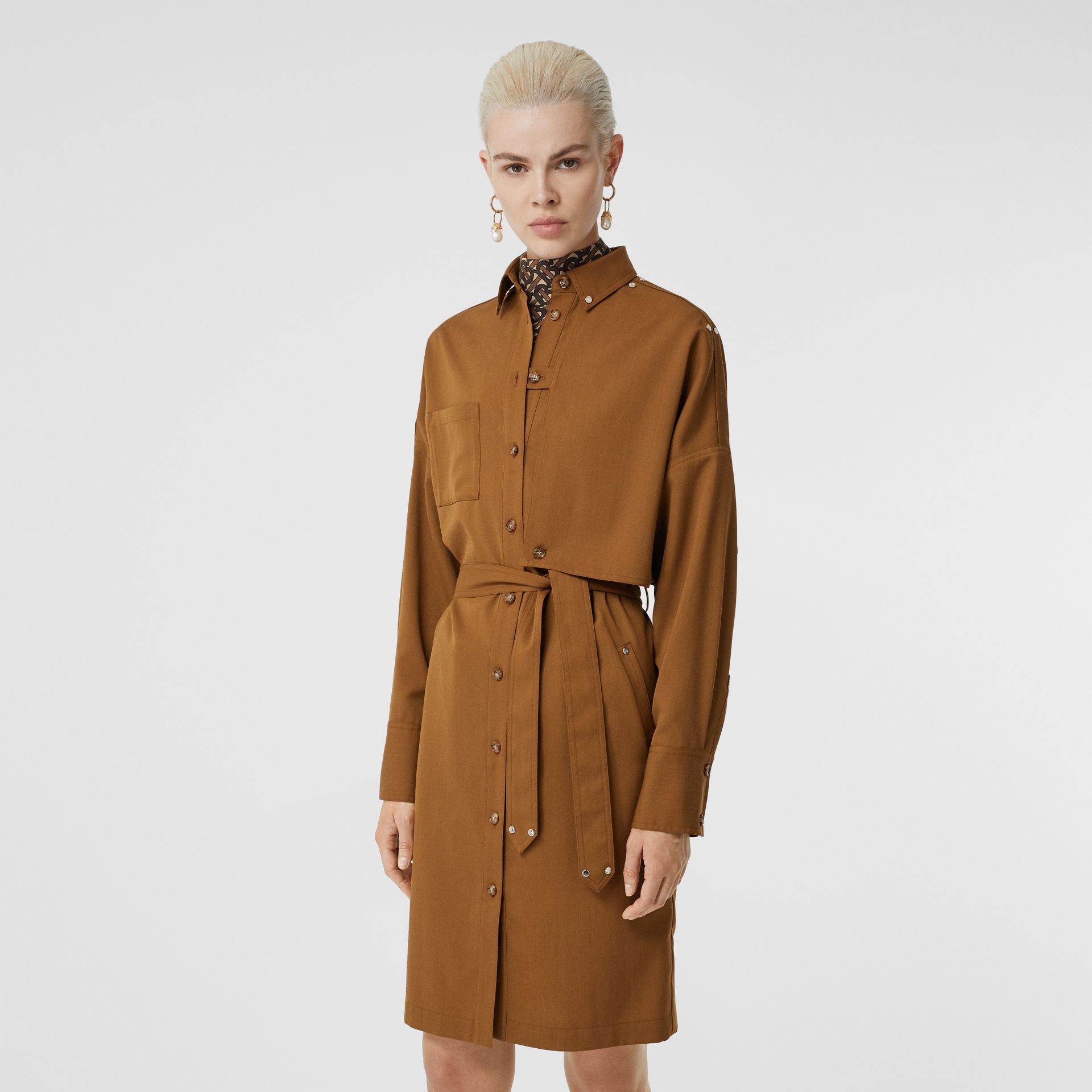 Wool Twill Blend Belted Shirt Dress in Maple - Women | Burberry United Kingdom - gallery image 5