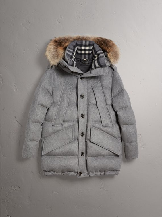 Down-filled Cashmere Hooded Parka in Mid Grey Melange - Men | Burberry Singapore - cell image 3
