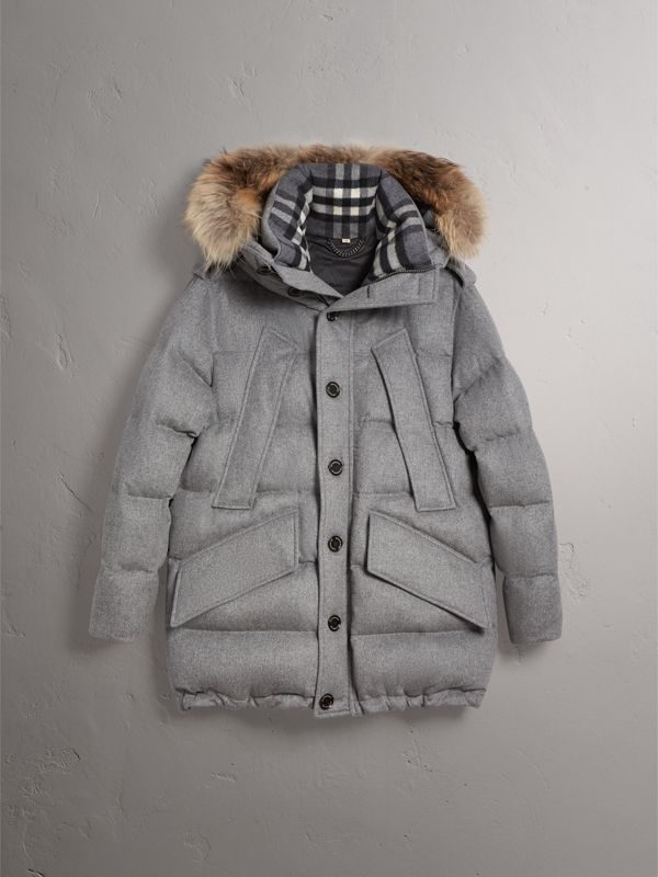 Down-filled Cashmere Hooded Parka in Mid Grey Melange - Men | Burberry - cell image 3