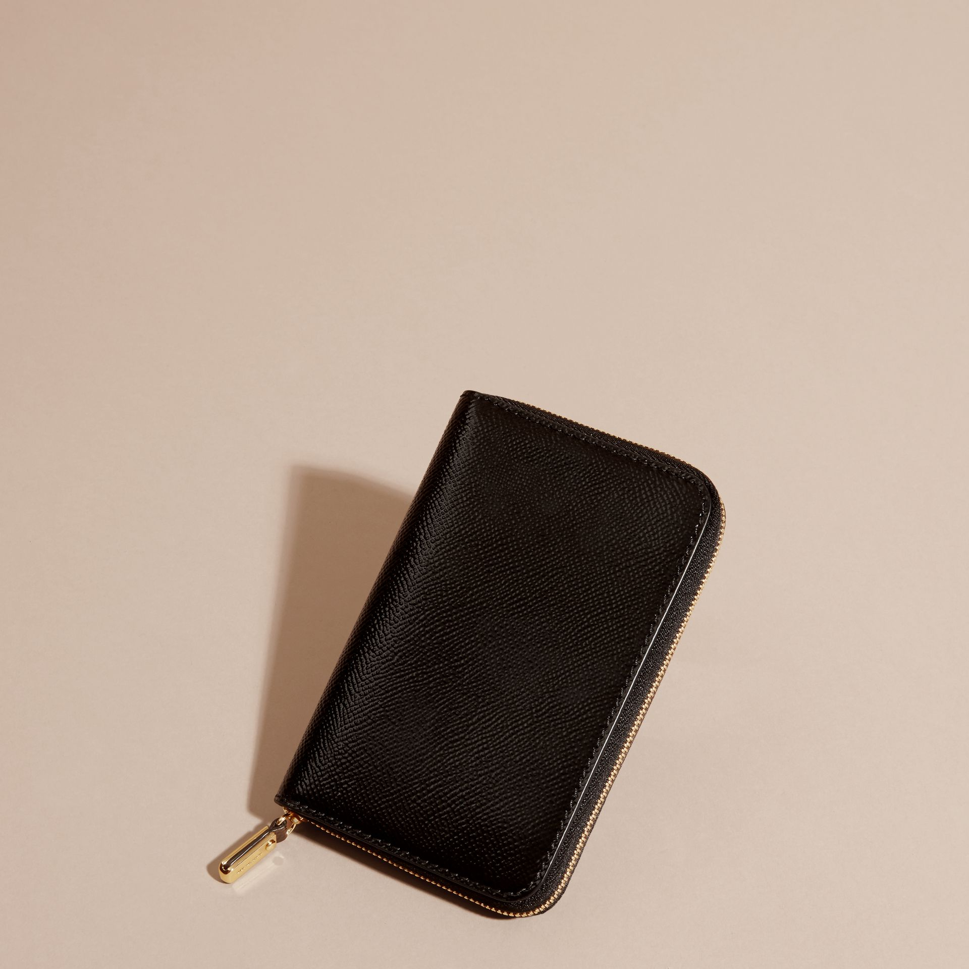 Black Patent London Leather Ziparound Wallet Black - gallery image 4