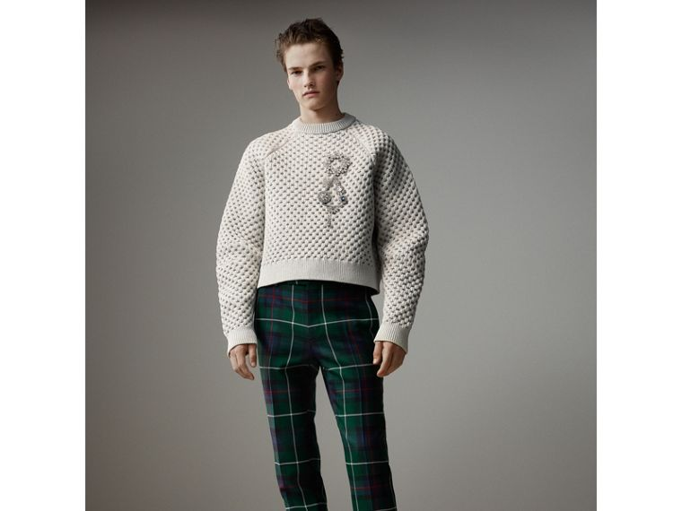 Tartan Wool Cropped Tailored Trousers in Forest Green - Men | Burberry - cell image 4