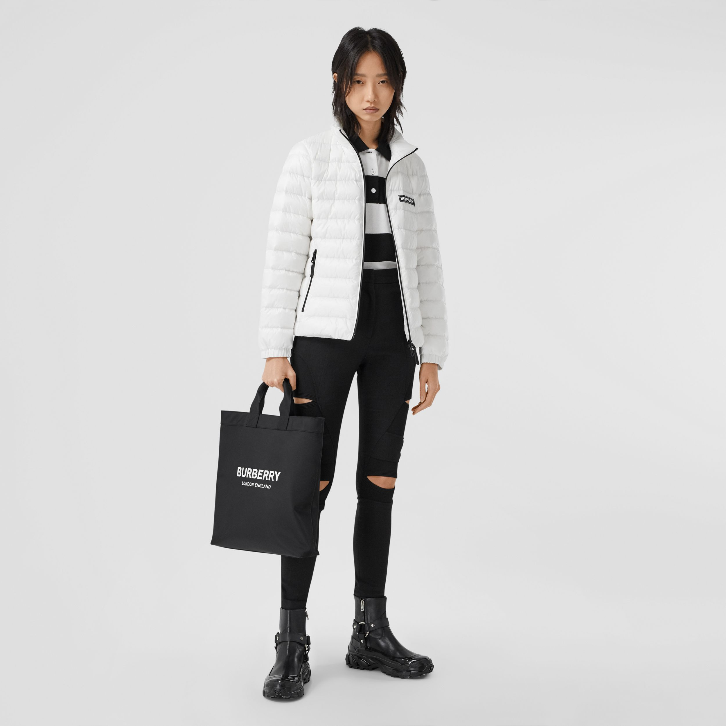 Logo Print Lightweight Puffer Jacket in White - Women | Burberry - 1