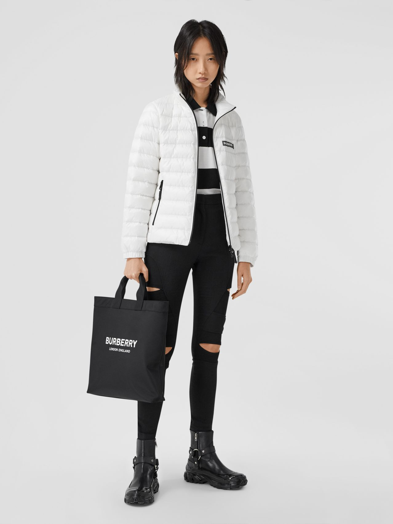 Logo Print Lightweight Puffer Jacket in White