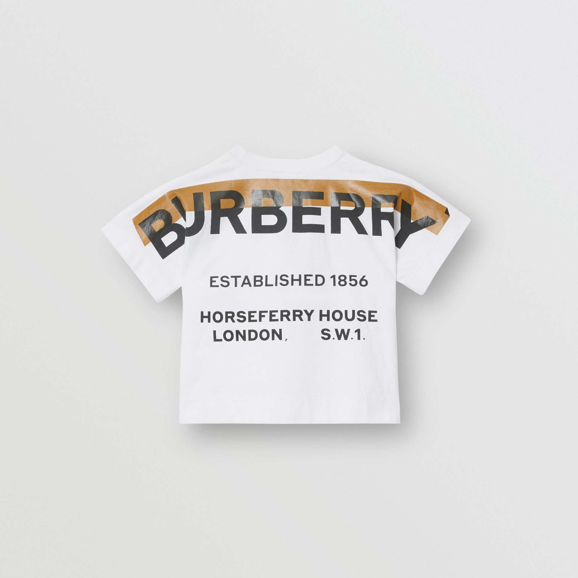 Horseferry Print Cotton T-shirt in White | Burberry - gallery image 4