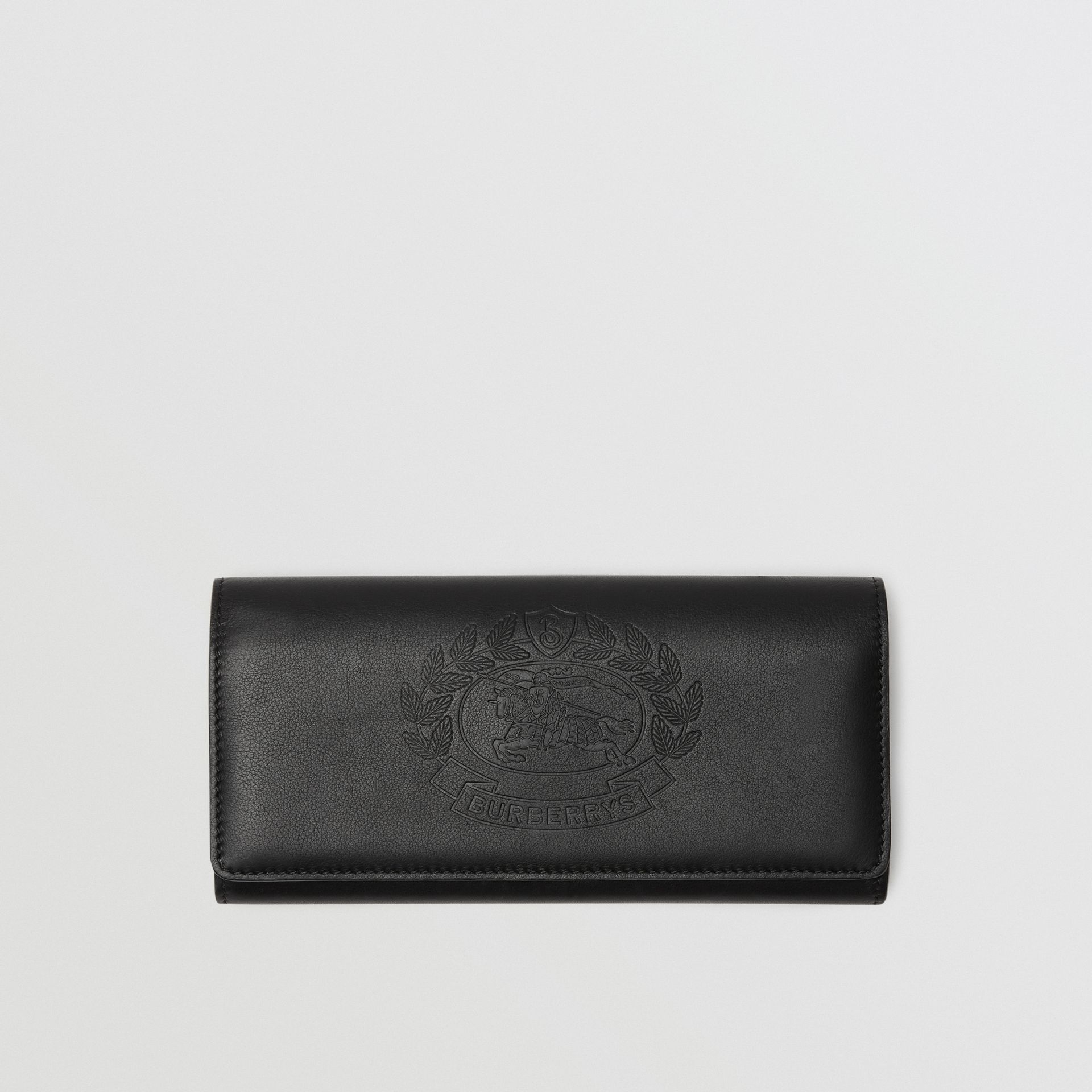 Embossed Crest Two-tone Leather Continental Wallet in Black - Women | Burberry - gallery image 0