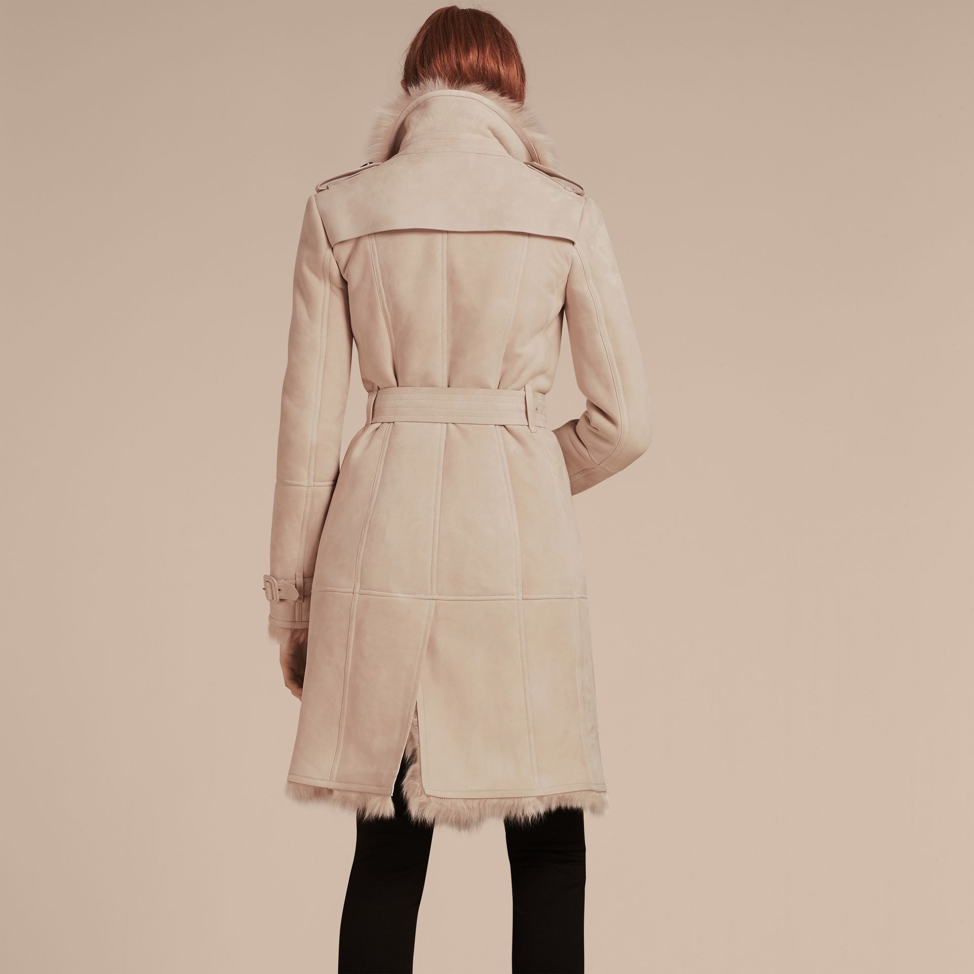 Chalk pink Shearling Trench Coat Chalk Pink - gallery image 3