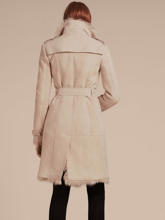 Rose craie Trench-coat en shearling Rose Craie - cell image 2