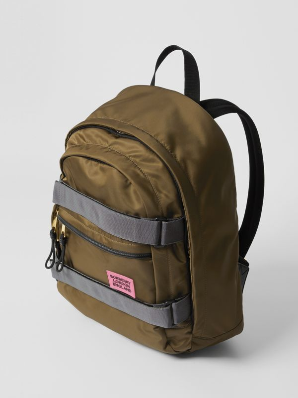 Medium Leather Trim ECONYL® Nevis Backpack in Khaki | Burberry Canada - cell image 3