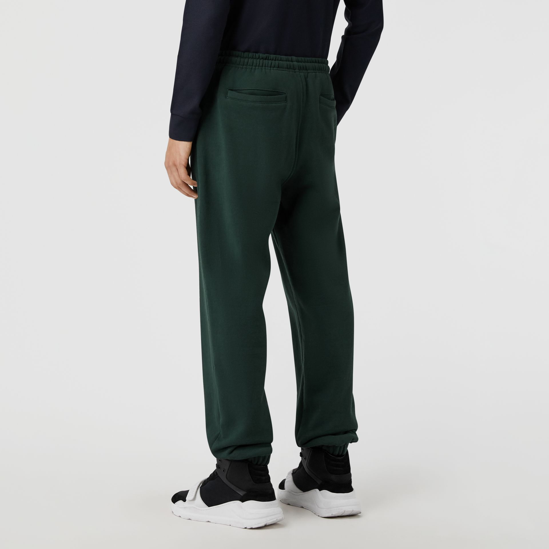 Embroidered Logo Jersey Track Pants in Forest Green - Men | Burberry Hong Kong - gallery image 2