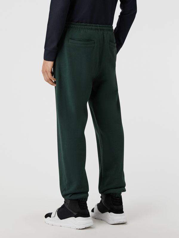 Embroidered Logo Jersey Trackpants in Forest Green - Men | Burberry Singapore - cell image 2