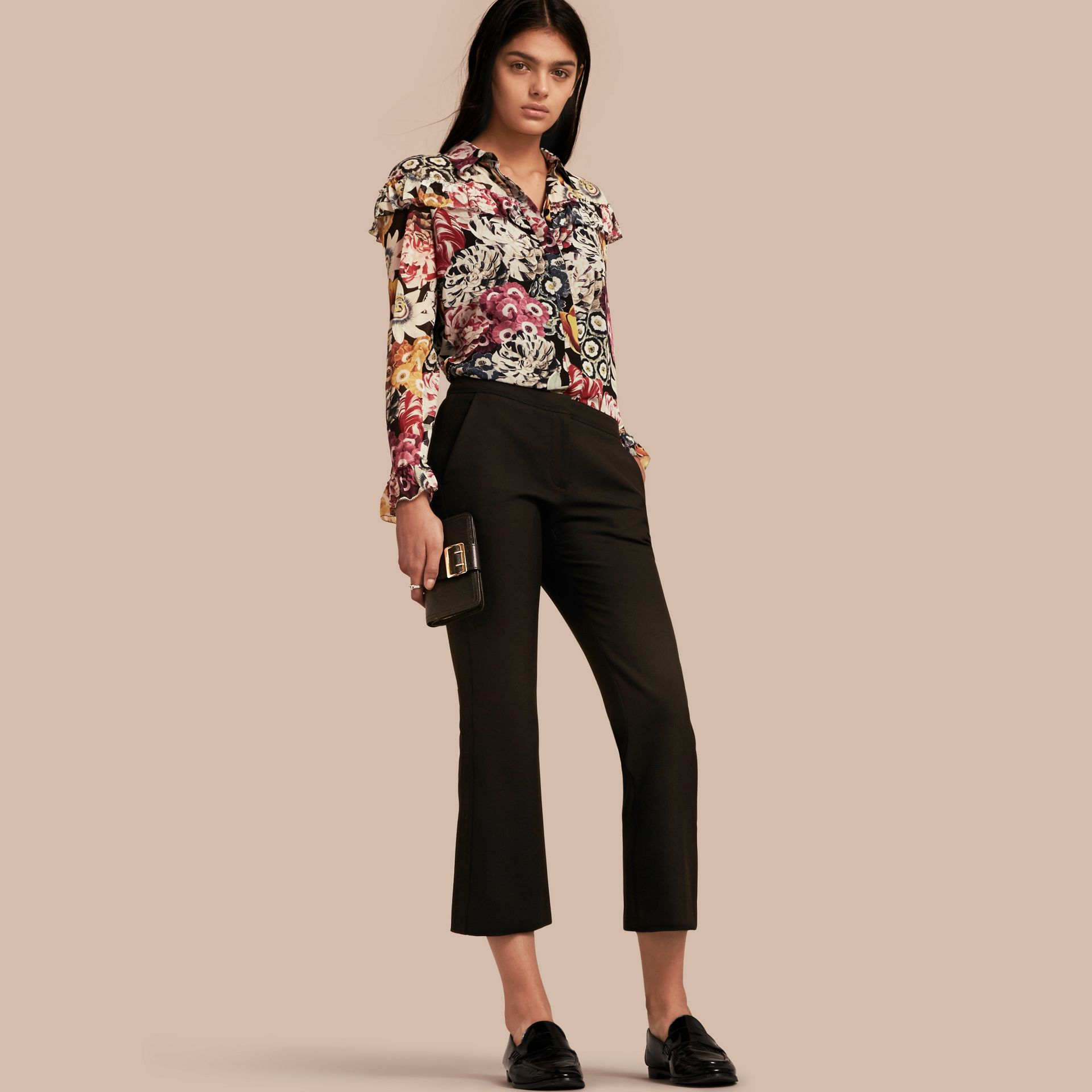 Black Cropped Tailored Trousers - gallery image 1