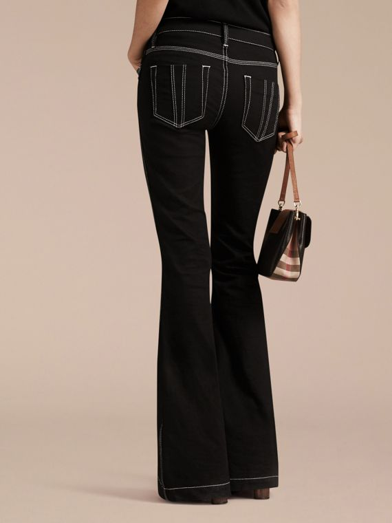 Black Flared Stretch Denim Low Rise Jeans - cell image 2