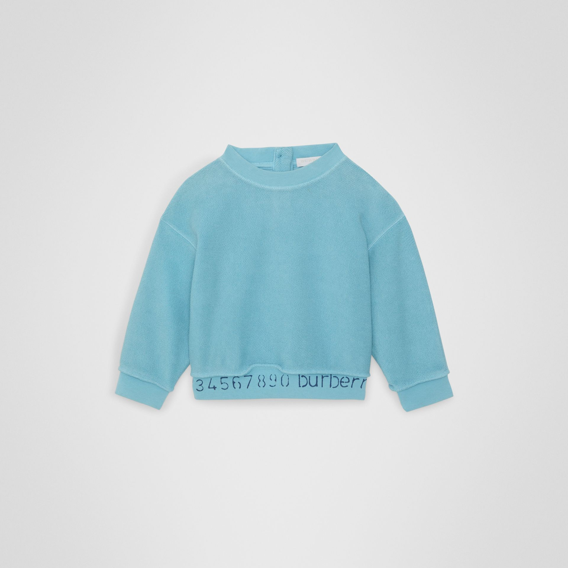 Stencil Logo Print Cotton Sweatshirt in Bright Cyan Blue - Children | Burberry - gallery image 0