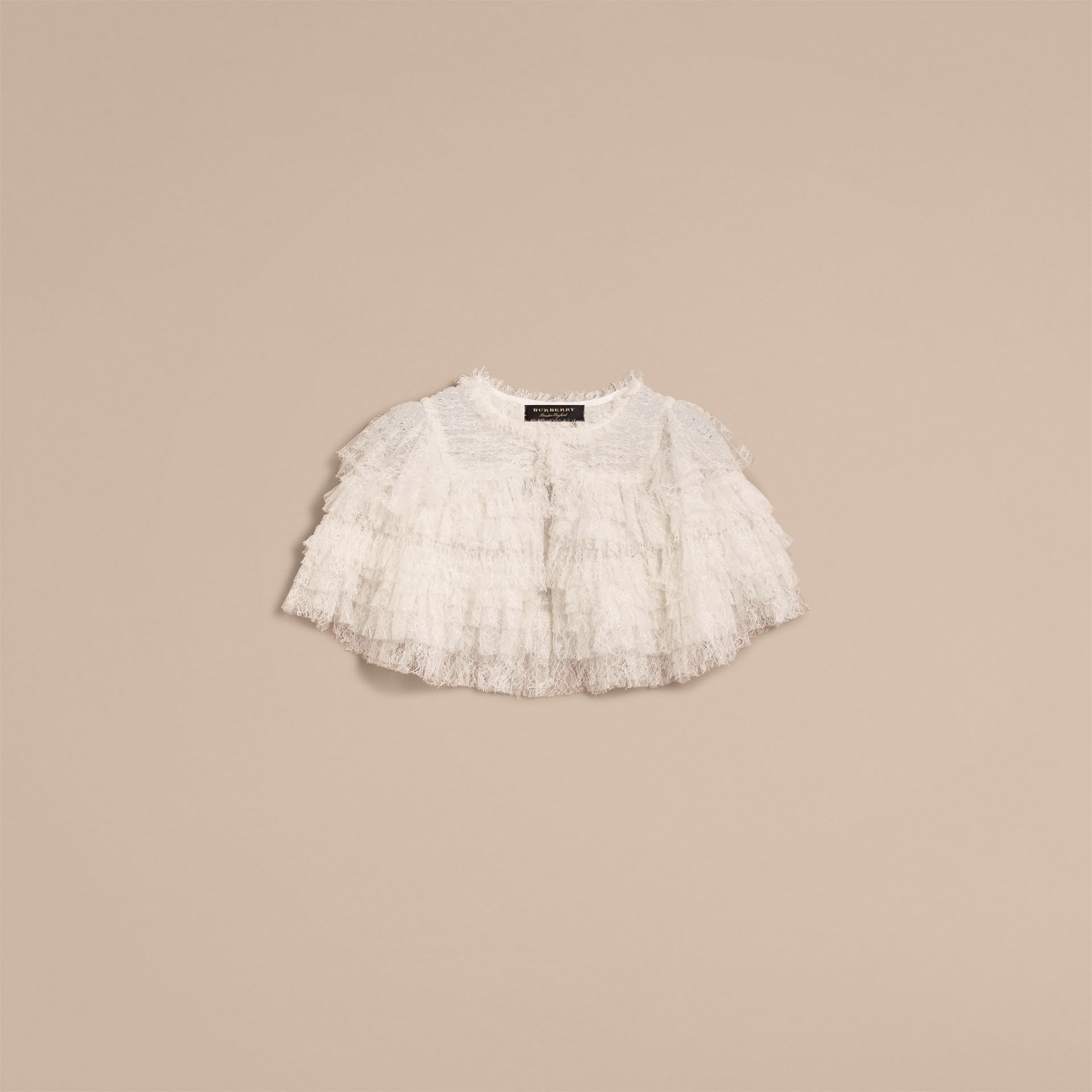 Tiered Lace Capelet in Natural White - Women | Burberry - gallery image 4