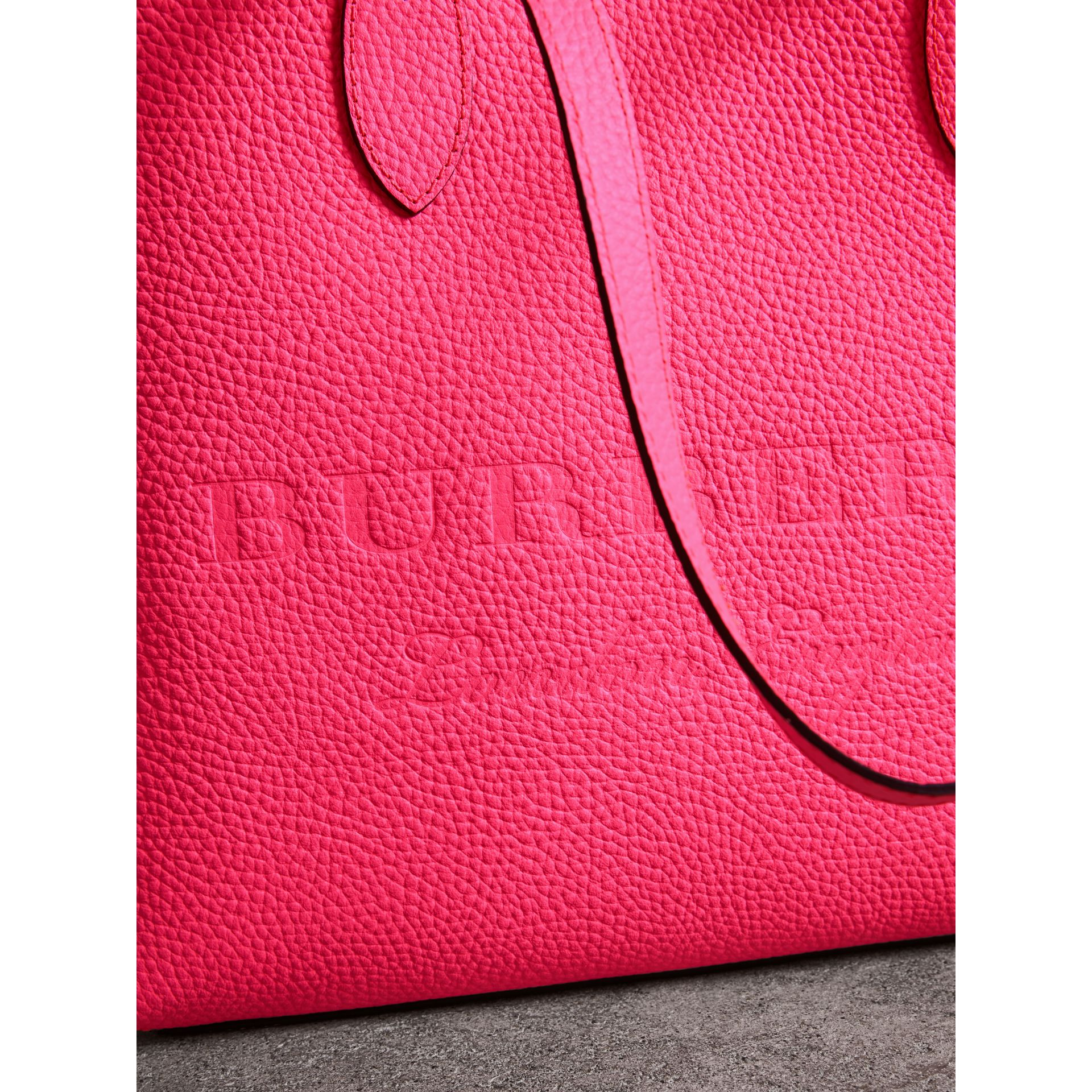 Embossed Leather Tote in Neon Pink | Burberry - gallery image 1