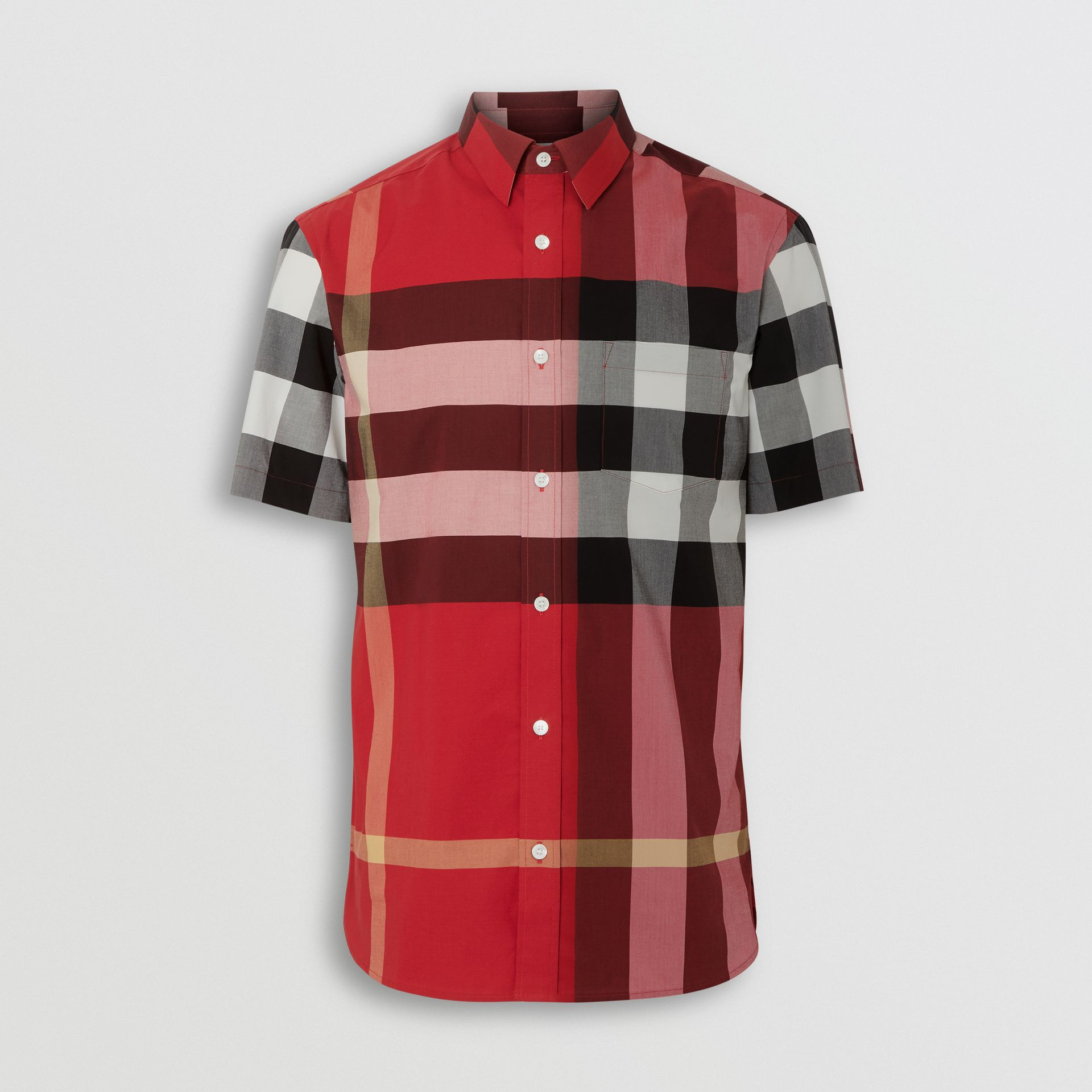 Short-sleeve Check Stretch Cotton Shirt in Parade Red - Men | Burberry Australia - gallery image 3