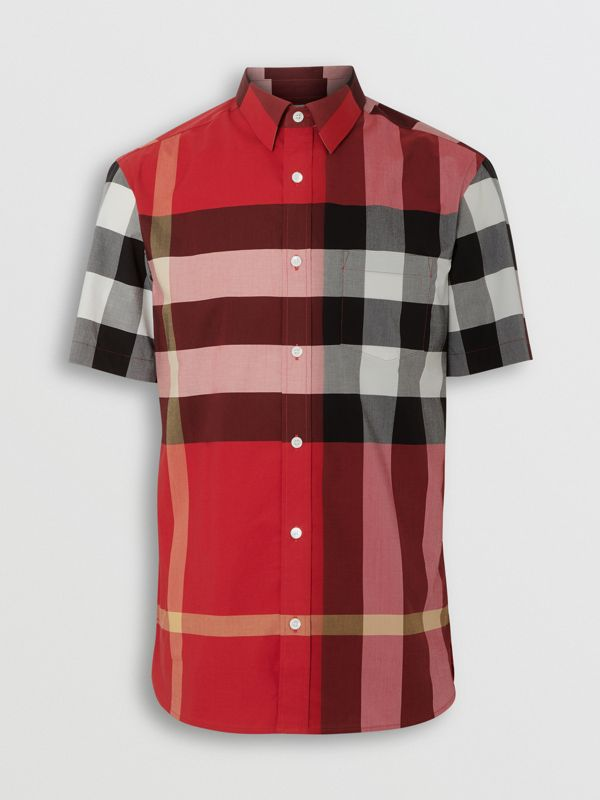 Short-sleeve Check Stretch Cotton Shirt in Parade Red - Men | Burberry Canada - cell image 3