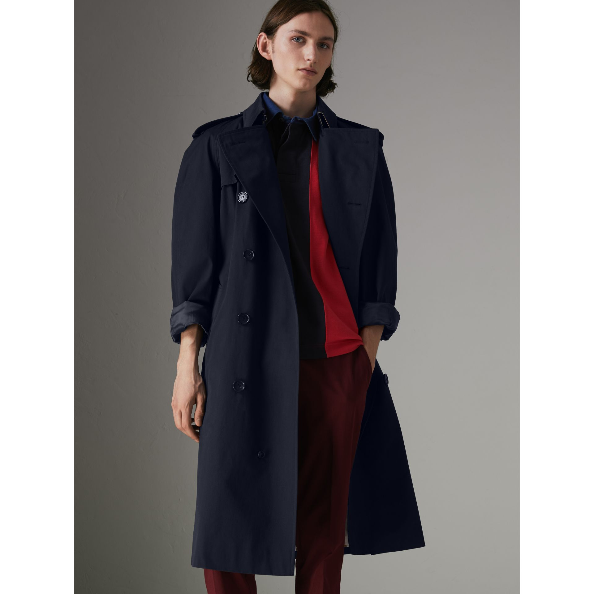 Painted Vintage Check-lined Gabardine Trench Coat in Ink Blue - Men | Burberry - gallery image 7