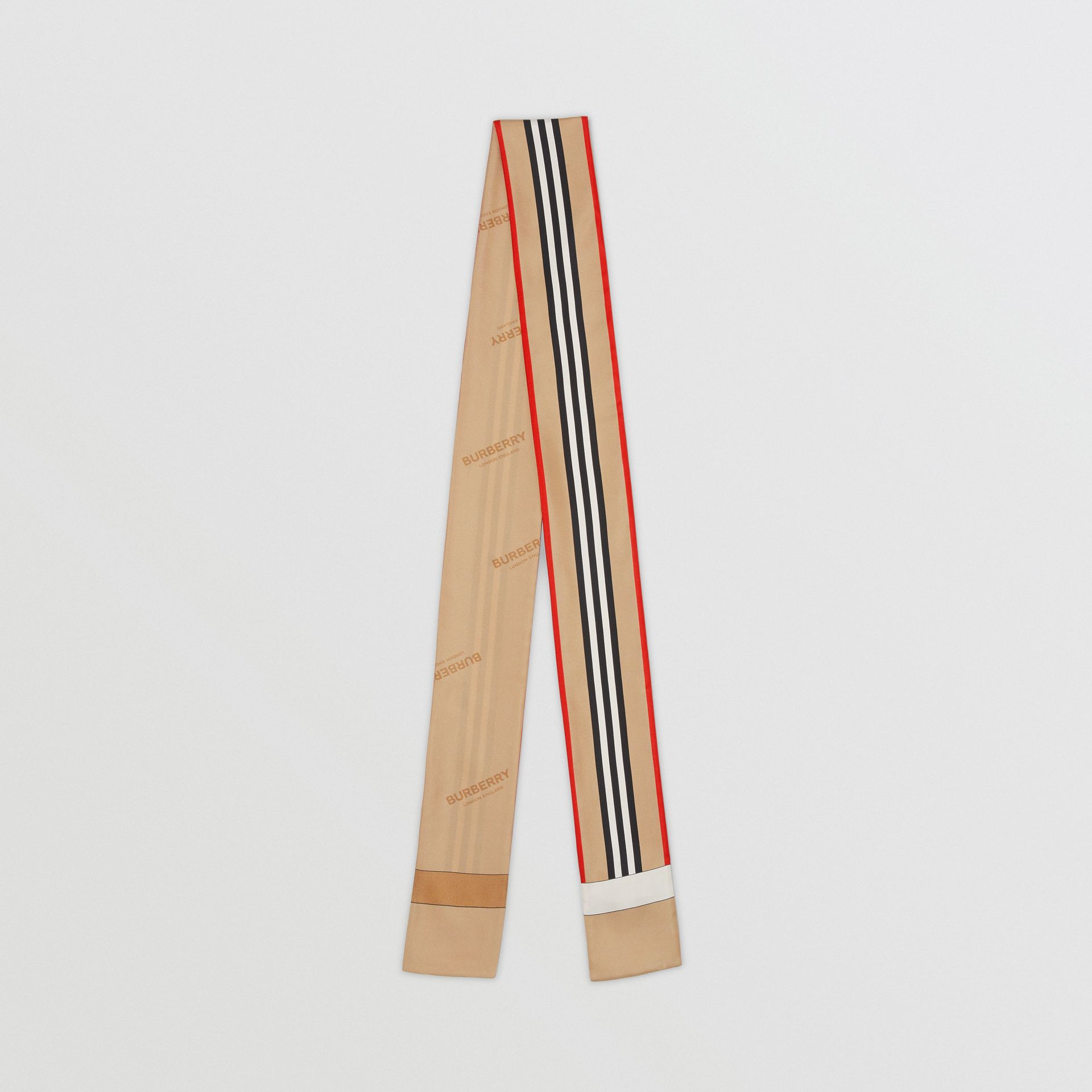 Icon Stripe Print Silk Skinny Scarf in Archive Beige | Burberry - gallery image 0