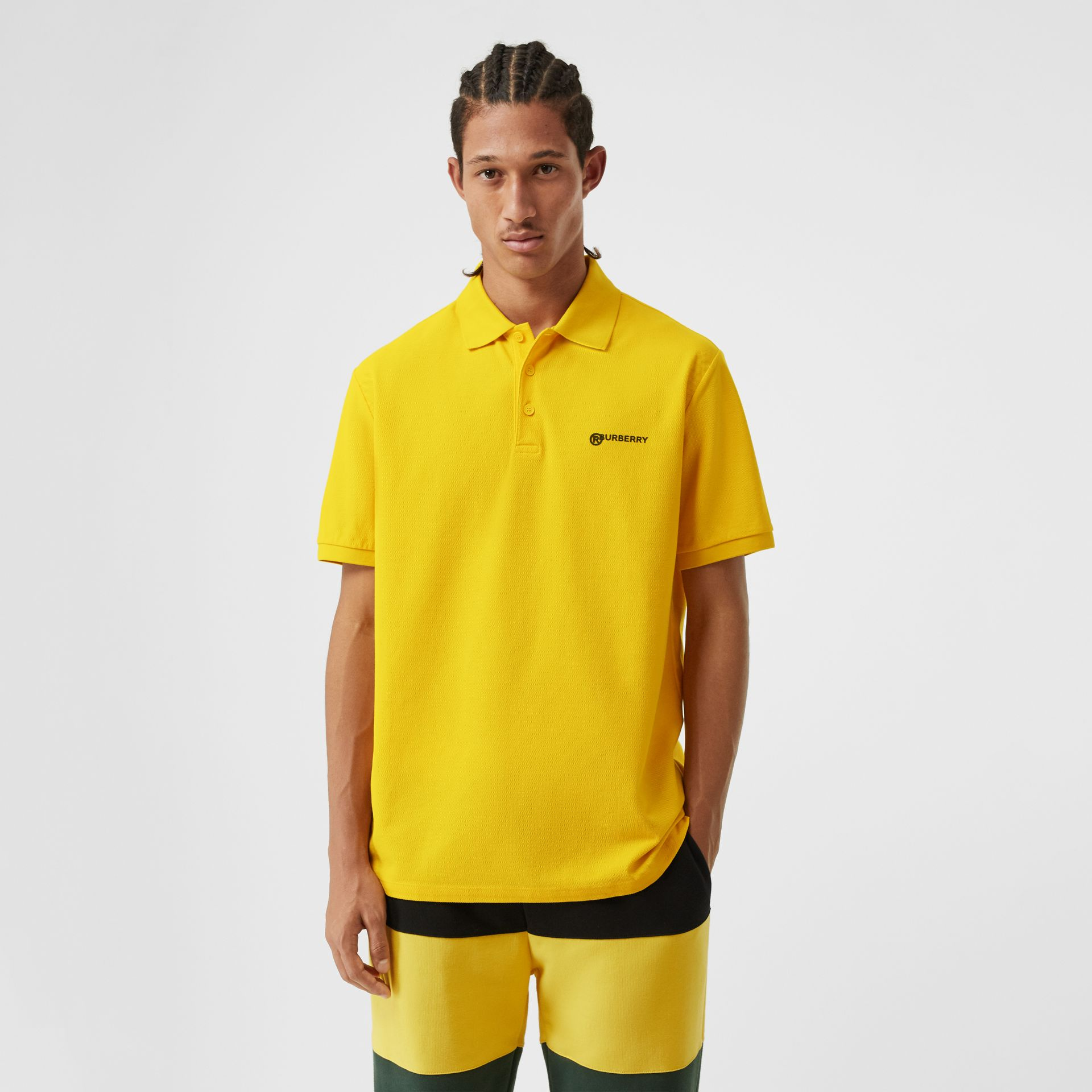 Location Print Cotton Piqué Oversized Polo Shirt in Canary Yellow - Men | Burberry - gallery image 5