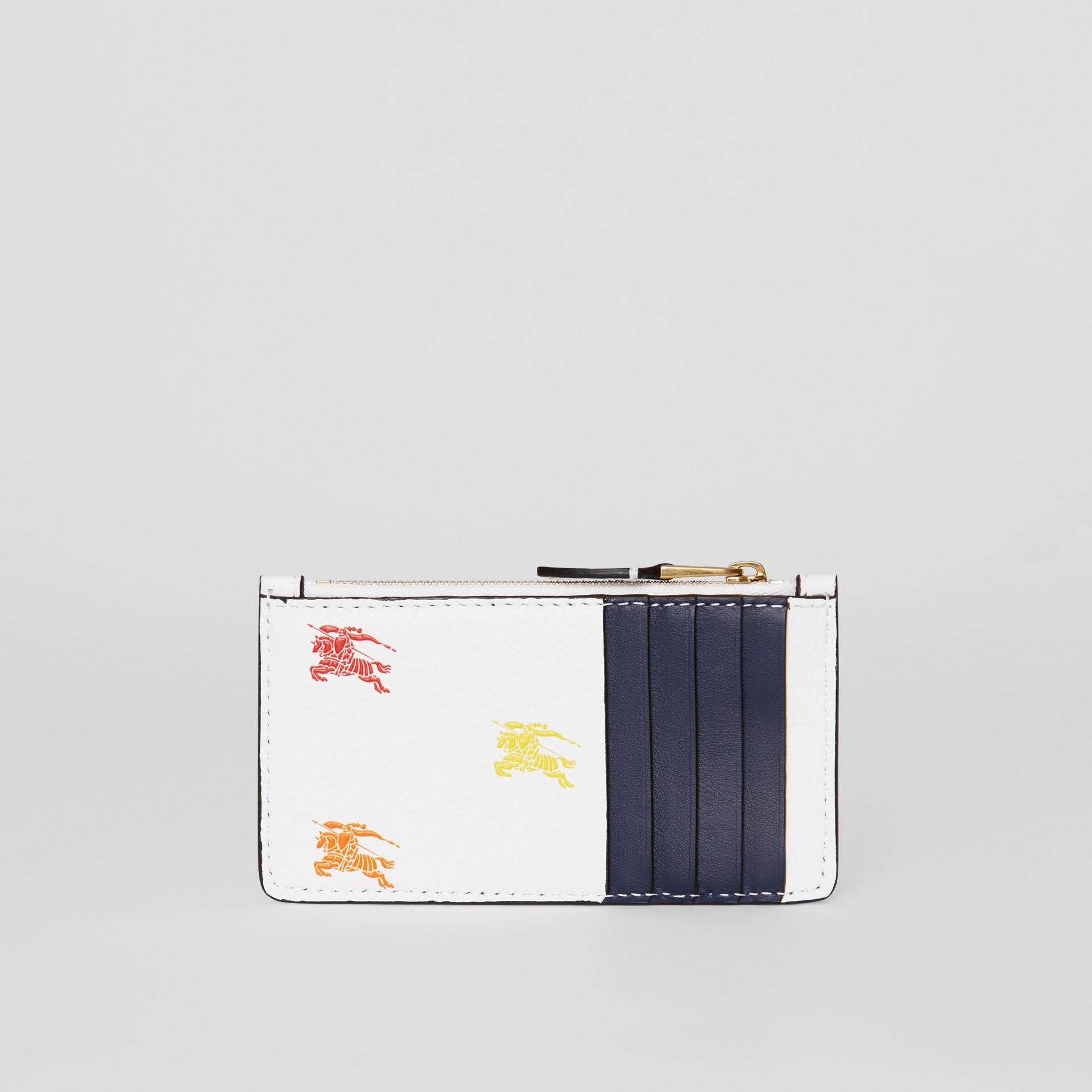 Porta-cartões de couro com zíper e Equestrian Knight (Branco Giz) - Mulheres | Burberry - galeria de imagens 4