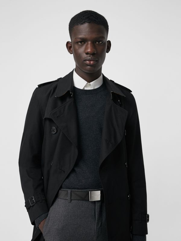Plaque Buckle London Check  and Leather Belt in Charcoal/black - Men | Burberry Singapore - cell image 2