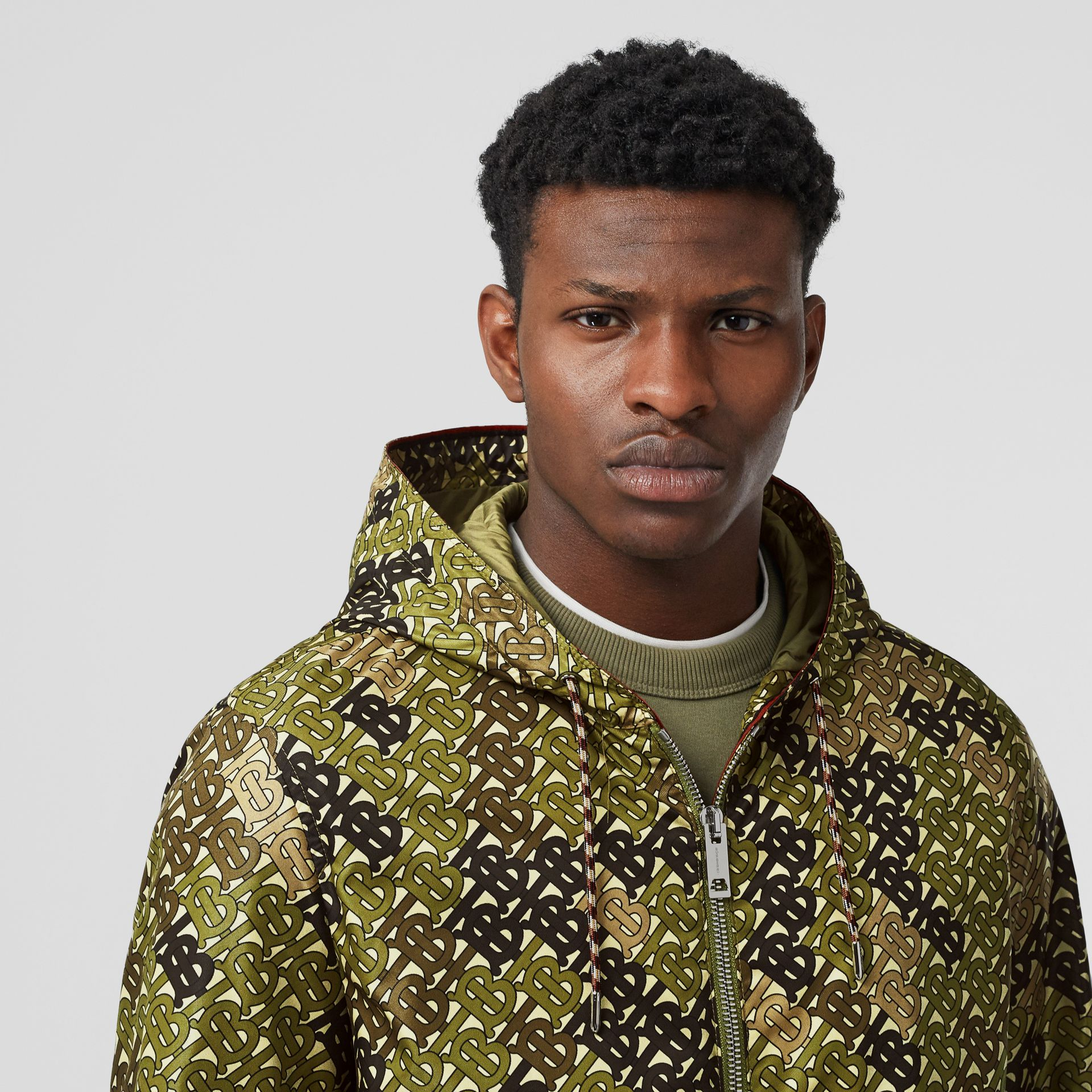 Monogram Print Nylon Hooded Jacket in Khaki Green - Men | Burberry - gallery image 1