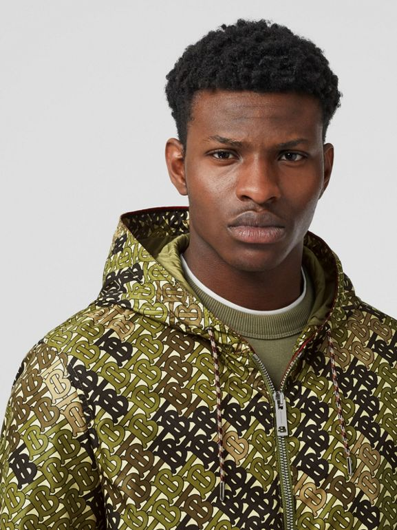Monogram Print Nylon Hooded Jacket in Khaki Green - Men | Burberry - cell image 1