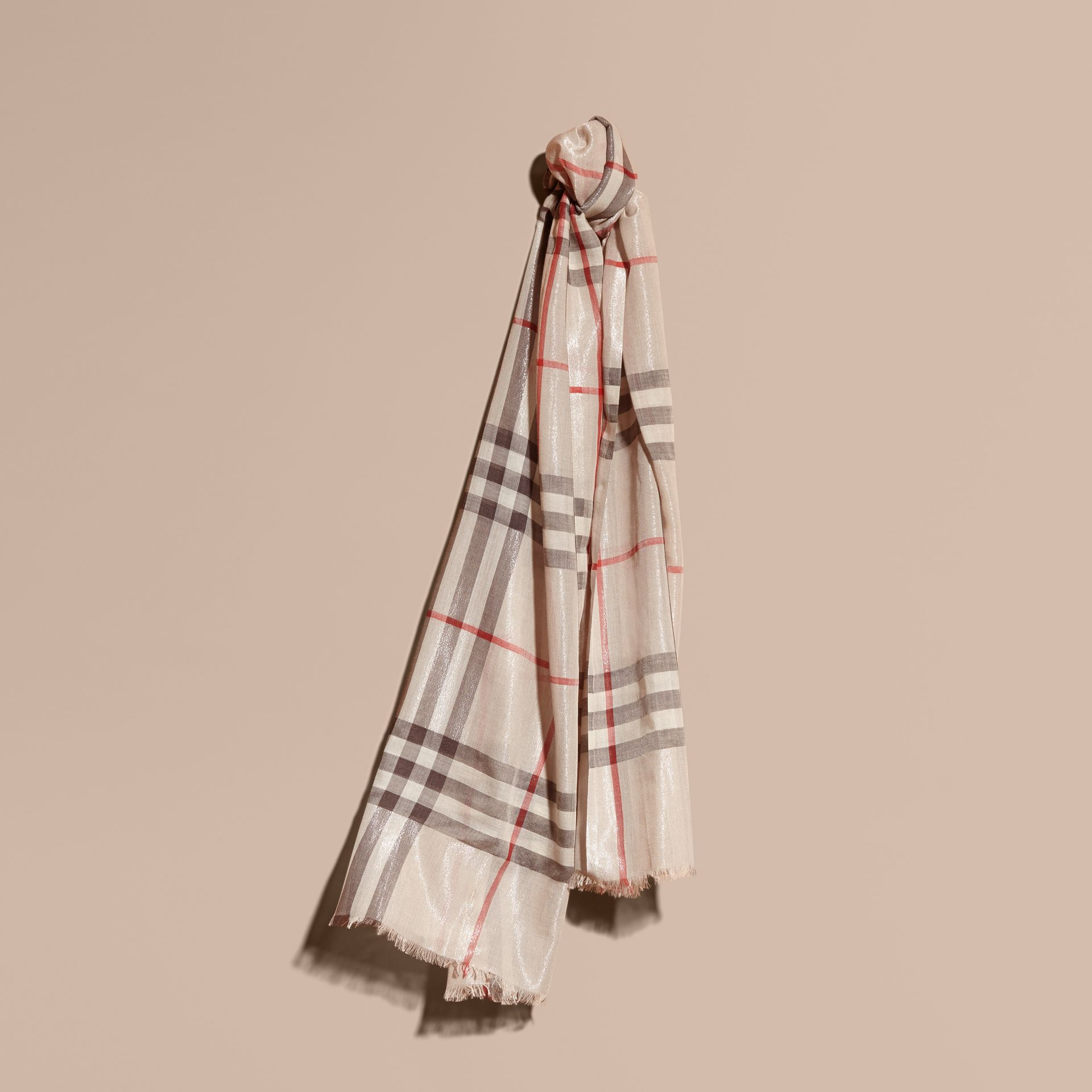 Metallic Check Silk and Wool Scarf in Stone/ Silver - gallery image 1