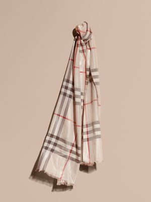 burberry silk scarf outlet k5pu  Metallic Check Silk and Wool Scarf Stone/ Silver